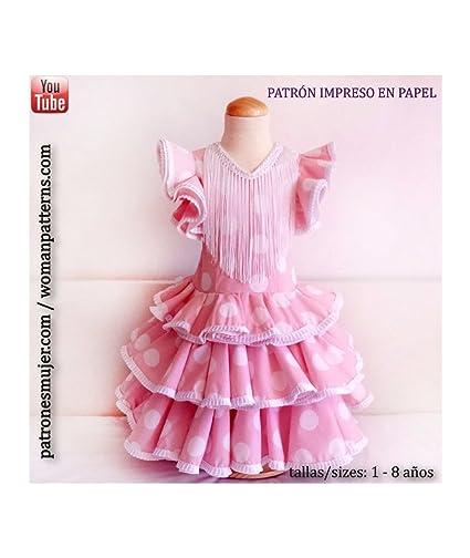 Patrón de ropa vestido niña flamenca, con vídeo para ayudarte a realizarlo. Talla 1