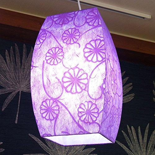 Mulberry Rice Paper Handmade Flower Design Light Art Shade Hanging Pendant Lantern Purple Violet Round Square Decorative Natural Accent Home Living Room Decor Ceiling Lamp