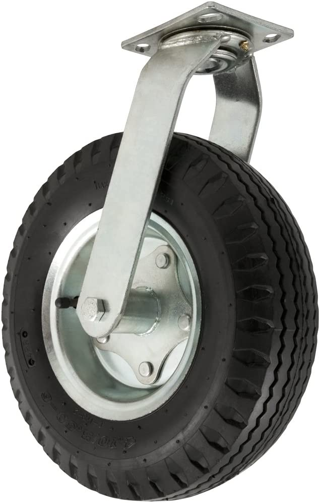 Pneumatic Caster Wheel with Swiveling Top Plate - 12-Inch - 450 lb. Load Capacity - Air Filled Wheel Provides a Cushioned Ride & Shock Absorption Best Suited for Outdoor Use