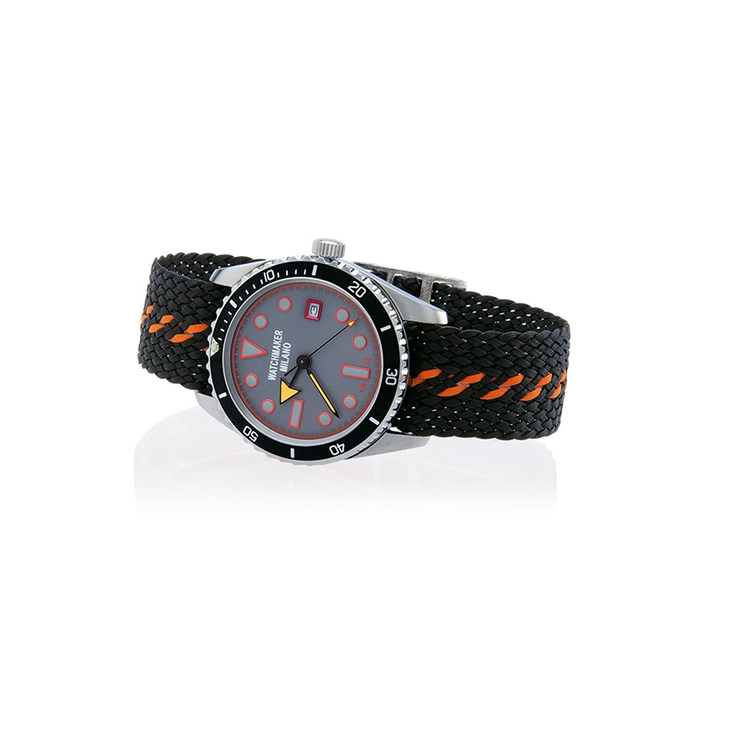 Watch Watchmaker Milano Meneghino Steel Black Grey Orange Perlon Strap WM.00M.05