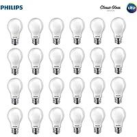 Philips LED 545921 Classic Glass Non-Dimmable A19 Light Bulb: 800-Lumen, 2700-Kelvin, 7 (60 Watt Equivalent), E26 Base, Soft White, 24-Pack, Piece