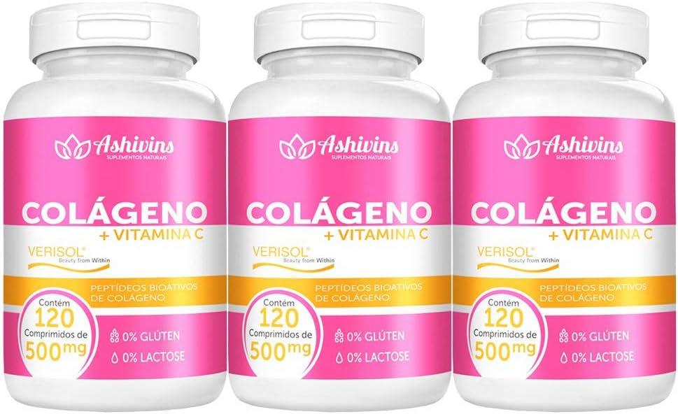 Colágeno Verisol + Vitamina C - Ashivins - 360 comp. - 500 mg