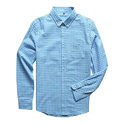 ROOLOLY Men's Button Down Long Sleeve Plaid Shirt