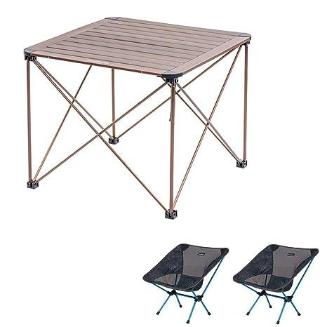 MDBYMX Mesa de Camping Plegable Mesa Plegable portátil con 2 ...