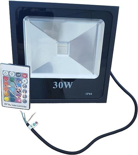 Foco proyector LED RGB 30W con mando a distancia COB LED, 3000L ...