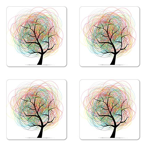 Lunarable Tree of Life Coaster Set of Four, Colorful Swirl Doodles Tree with Branches Funky Contemporary Illustration, Square Hardboard Gloss Coasters for Drinks, Pastel White