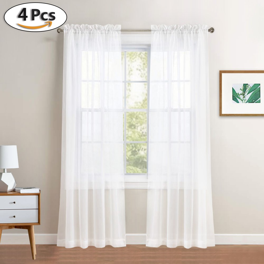 PONY DANCE White Sheer Curtains - Voile Panels Casual Light-weighted Rod Pocket Sheers Drapes Cafe/Kitchen / Bedroom Windows/Kids' Room, 60'' W x 63'' L, White, Set of 4