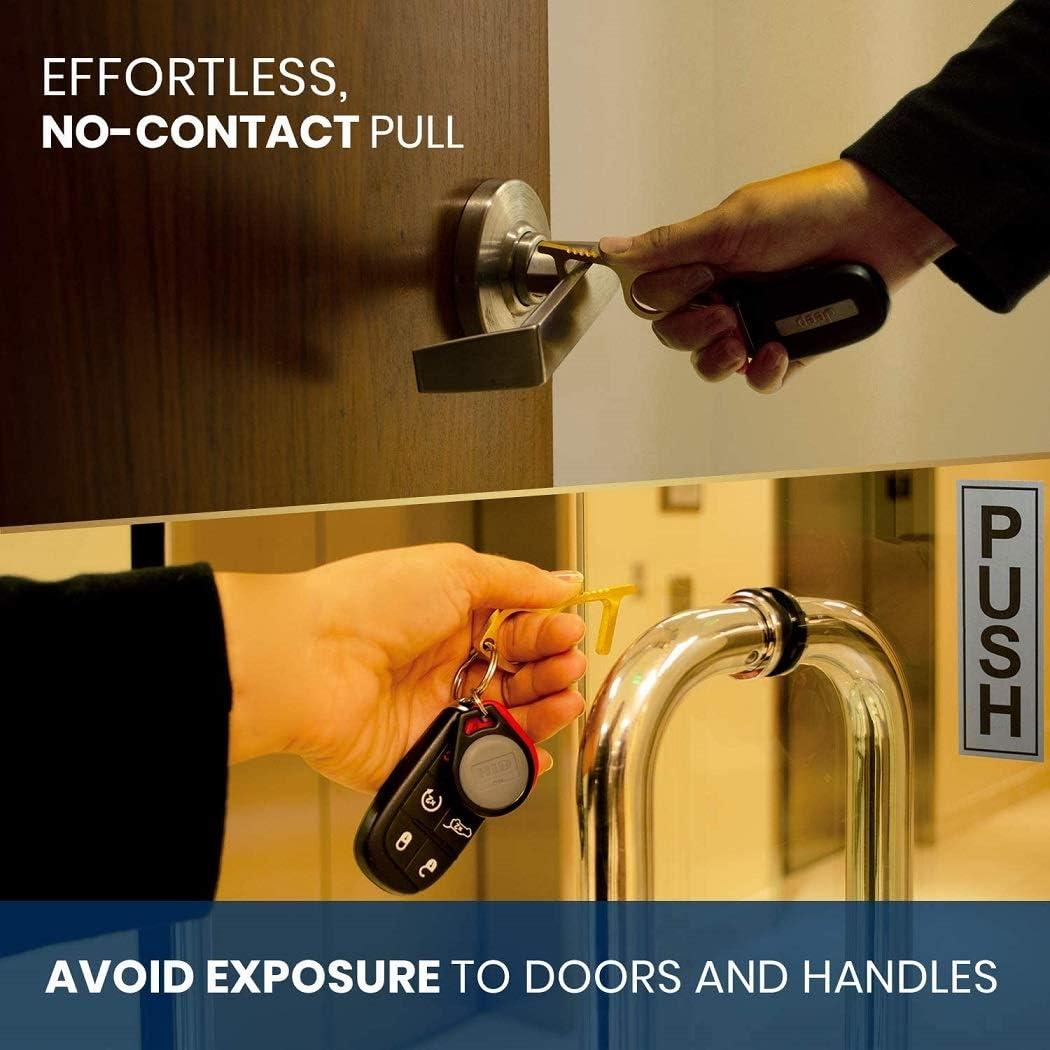 Hygienischer T/ürgriff,Zero Contact Hand Brass Door Opener Closer No-Touch Press Elevator Hand Stick Health Protection Personalized Keychain Keep Hands Clean,4St/ück