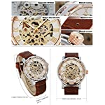 GuTe Steampunk Bling Skeleton Mechanical Hand-wind Wristwatch Silver Rose-gold Case 14