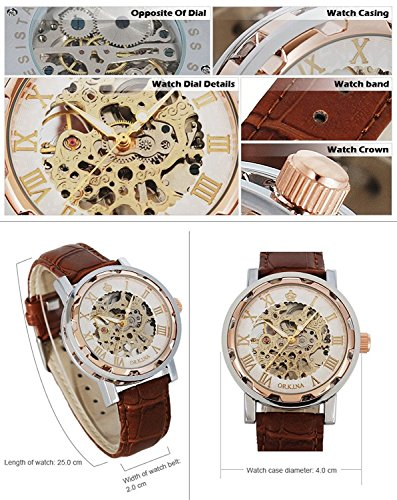 GuTe Steampunk Bling Skeleton Mechanical Hand-wind Wristwatch Silver Rose-gold Case 8