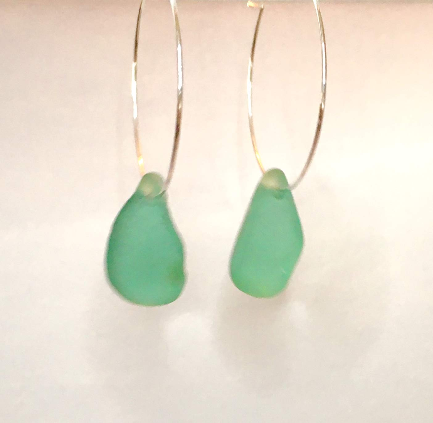 e25654a601e86 Real Genuine Authentic Beach Glass Untouched Aqua Sea Glass Hoop Silver  Earrings One of A Kind Handmade Piece