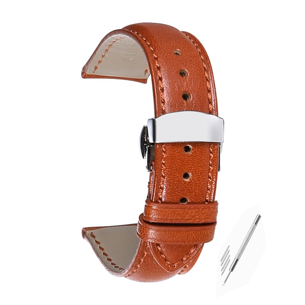 iStrap 22mm Genuine Leather Watch Band Padded Calfskin Strap Steel Butterfly Deployant Clasp