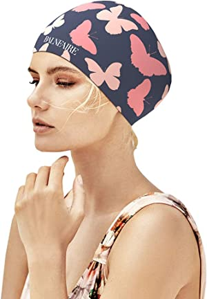 BALNEAIRE Silicone Long Hair Swim Cap for Women,Waterproof Butterfly Pattern Extra Large Swimming Cap