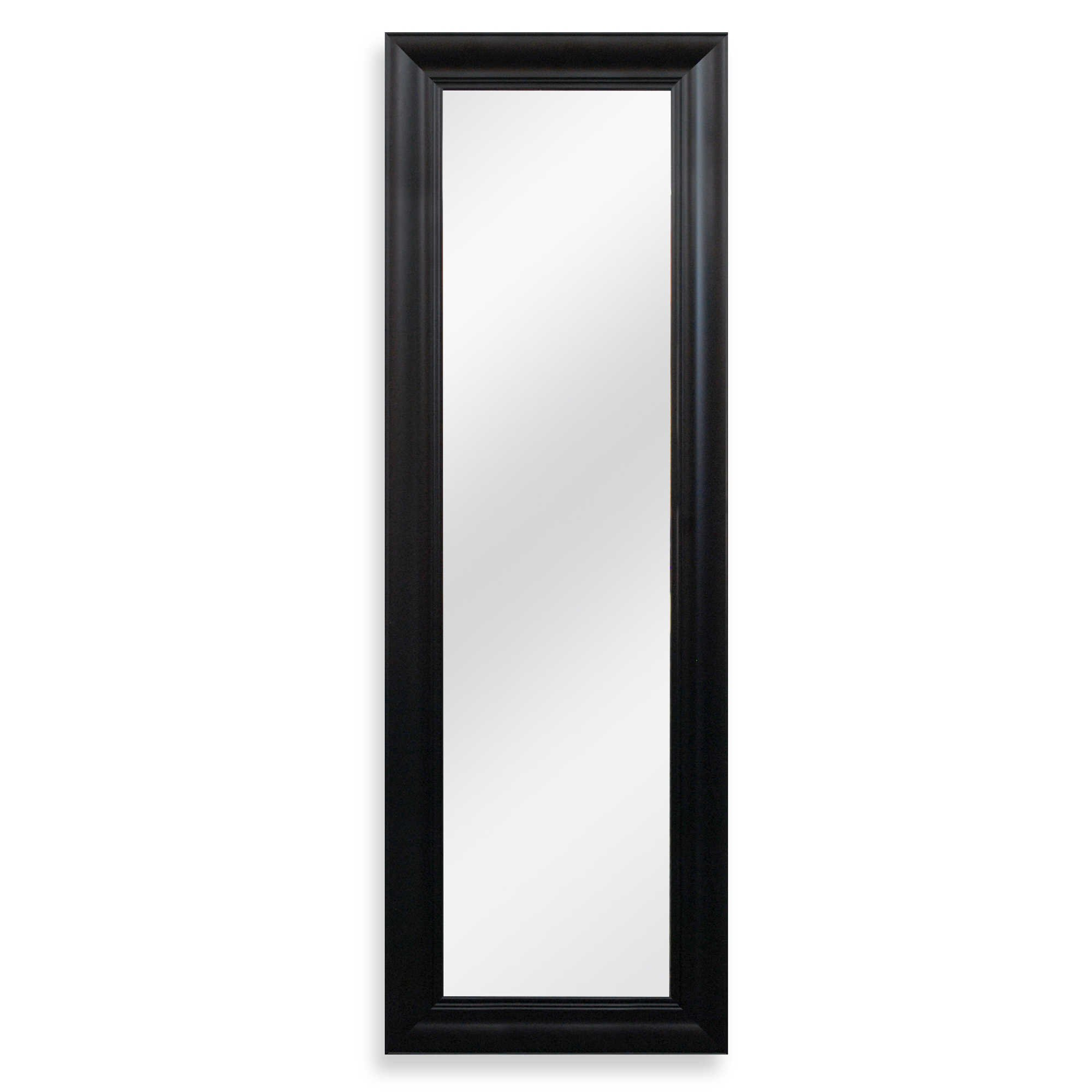 Elegant Trendy Chic Adjustable Hook Height Patented No-Tools Over-the-Door Mirror in Black features Preattached Hardware
