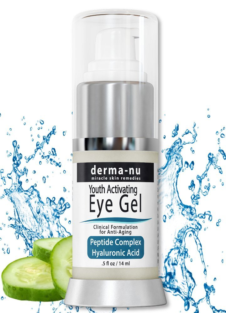 Eye Wrinkle Cream By Derma-nu – Anti Aging Eye Gel Treatment for Dark Circles, Puffiness & Wrinkles - Peptide Collagen Building Formula - Hyaluronic Acid & Amino Acid - .5oz