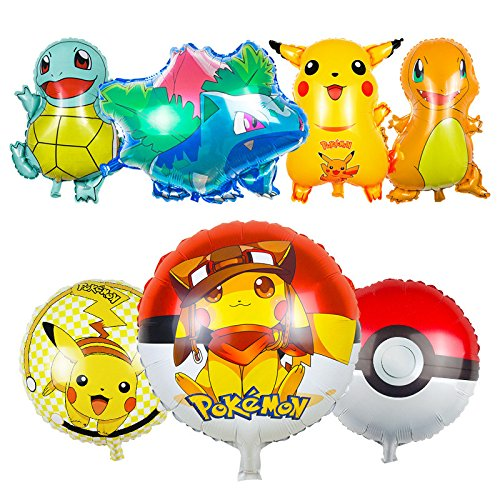 7 Pack Large Pokemon Foil Birthday Party Balloons - Over Two Feet Tall Featuring Pikachu and Friends! Perfect Decorations for Any Pokemon Celebration! - Pokemon Cards Haunter Ex