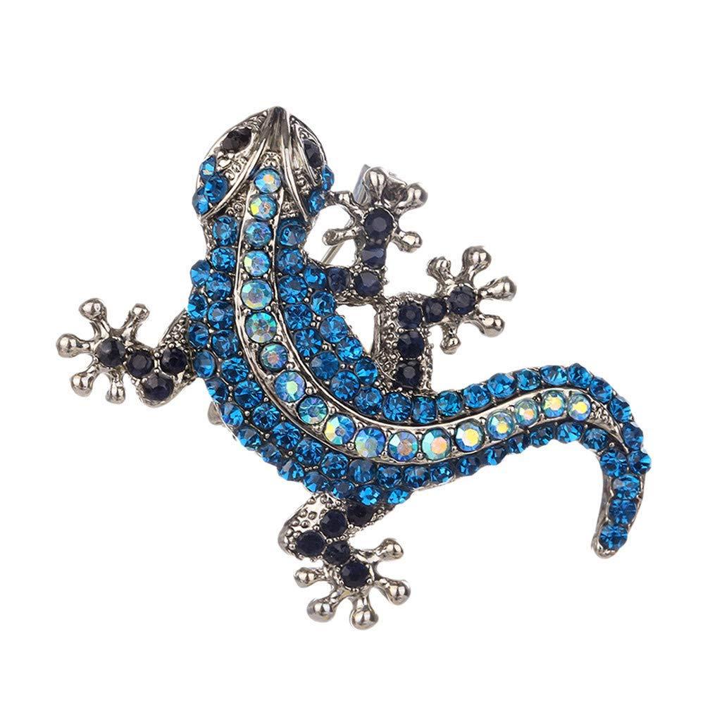broche de gecko r/étro femmes /épinglette de costume bleu gilet pour homme Ogquaton Broche de l/ézard en cristal de bande dessin/ée de qualit/é sup/érieure en alliage de zinc