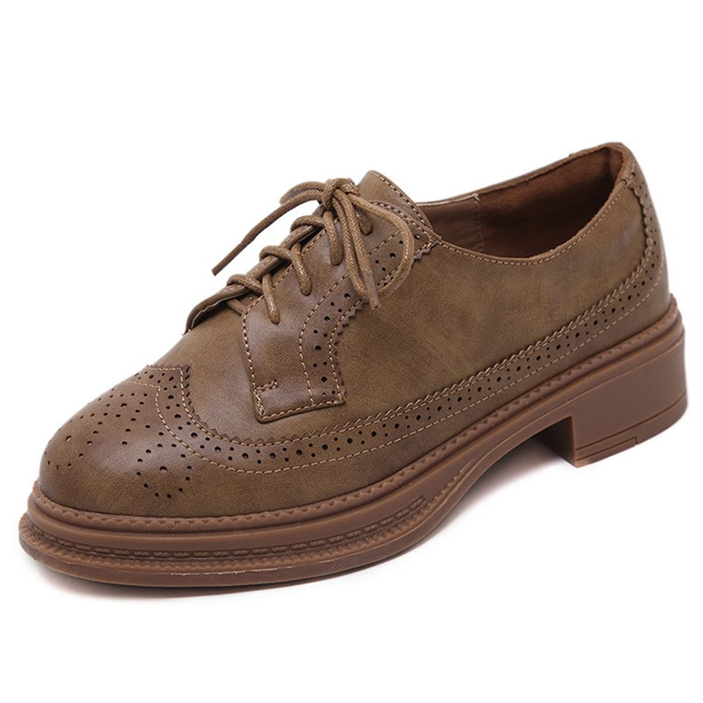 CYBLING Fashion Lace up Round Toe Women Oxford Shoes for Walking