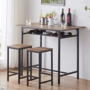 IBF Modern Bar Table Set, Wood and Metal Dining Table Set, Industrial Breakfast Pub Table, Counter Height Table with 2 Chairs Stools for Kitchen Living Room, Rustic Oak, 42 Inch…