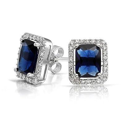 de92d749c 3.5 CT Emerald Cut Royal Blue Cubic Zirconia Simulated Sapphire CZ Halo  Stud Earrings For Women Rhodium Sterling Silver: Amazon.co.uk: Jewellery