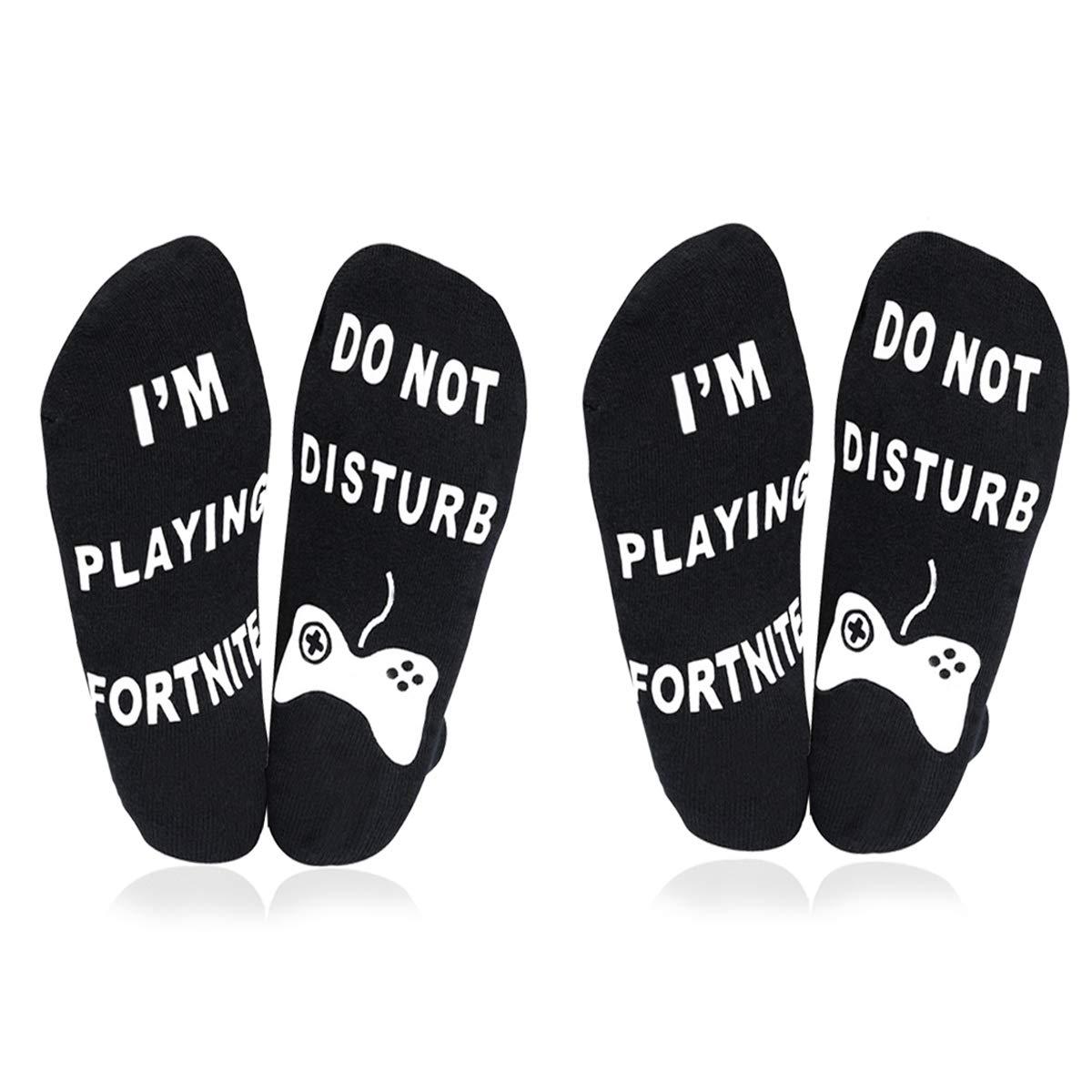ATIMIGO 'Do Not Disturb' I'm Playing Fortnite' Funny Ankle Socks for Men Kids Boys- Great Gamer Gift For Fornite Lovers (2 pair black)