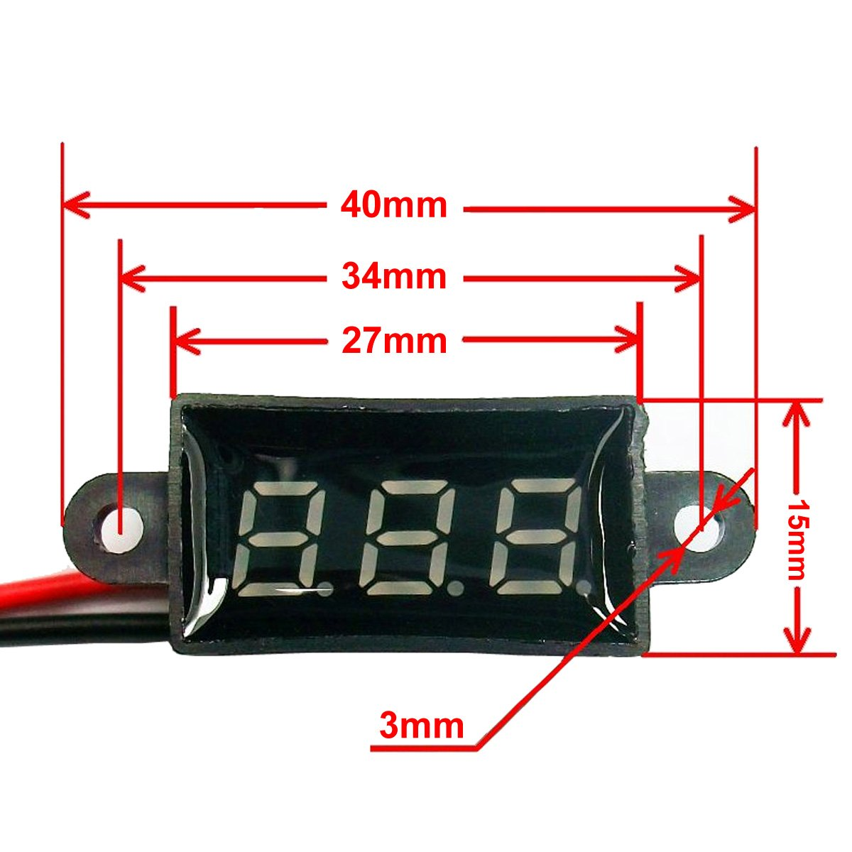 DROK Micro Voltmeter 3.50-30.0V Digital Voltage Panel Meter DC 12V 0.28 2-Wires Volt Monitor Waterproof Battery Power Tester for Car Motorcycle Vehicle Automotive