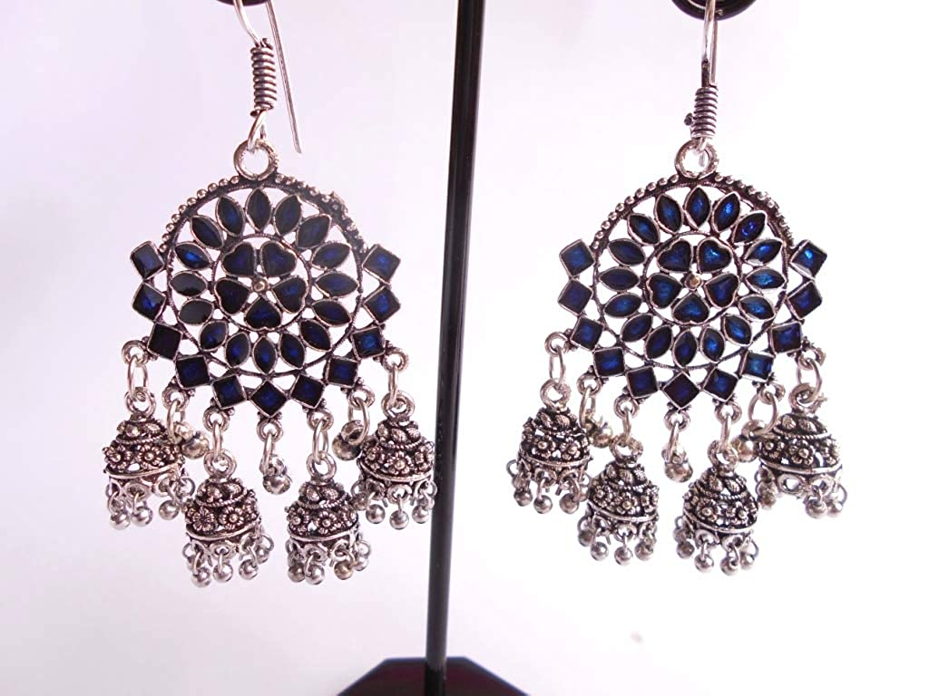 Ethnic .925 Silver Plated Oxidized Semi Precious Jhumki Earring GS34