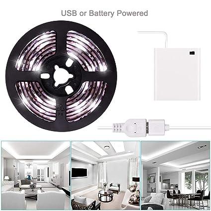 Antopy Led Strip Lights Usb Or Battery Powered Cool White Usb Led Light Strip Kit 6 6ft 2m Waterproof Super Bright Led Tape Light