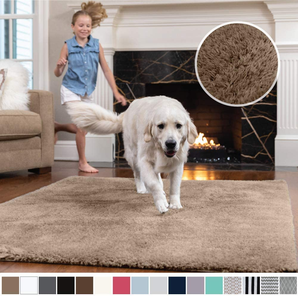 Gorilla Grip Original Faux-Chinchilla Area Rug, 2x8 Feet, Super Soft and Cozy High Pile Washable Carpet, Modern Runner Rugs for Floor, Luxury Carpets for Home, Bed and Living Room, Taupe