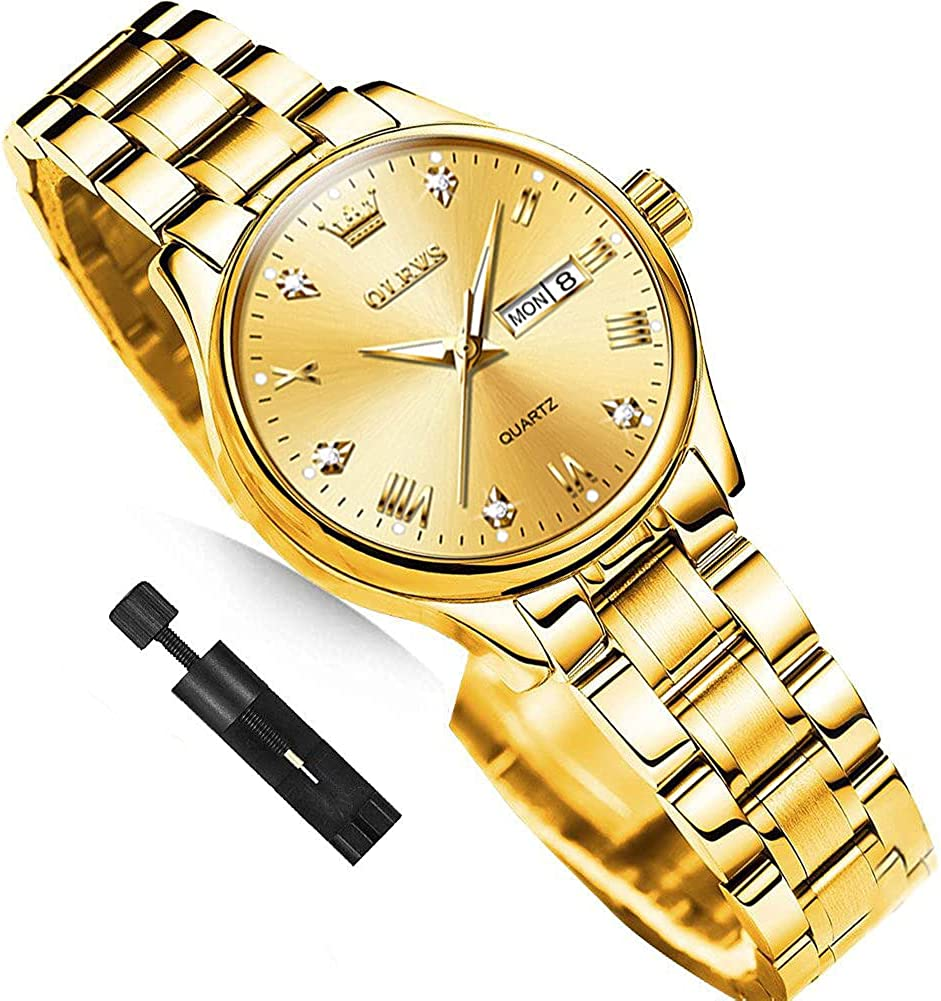 Business Women Watches Day Date,Woman Watches with Silver Gold Stainless Steel,Fashion Luminous...