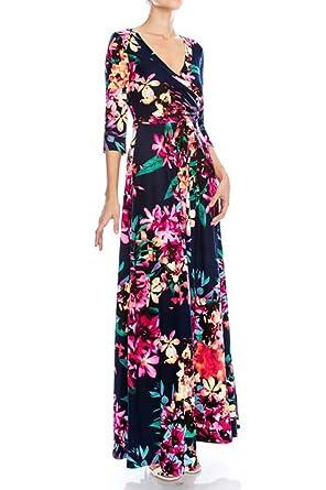4204187d3711 On Trend Paris Bella Dress Bohemian 3/4 Sleeve Long Maxi Dress ... at  Amazon Women's Clothing store: