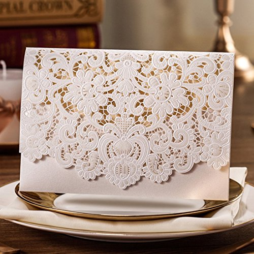 Wishmade 50x Ivory Horizontal Laser Cut Wedding Invitation Cards With  Hollow Flora Favors Cardstock Used For