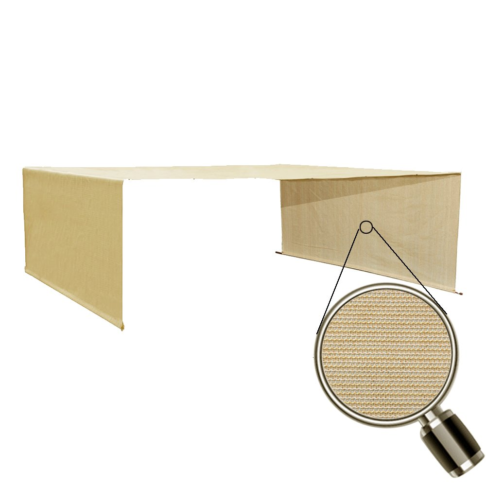Alion Home Custom HDPE Permeable Canopy Sun Shade Cover Replacement with Rod Pockets for Pergola (20' x 95'', Banha Beige)