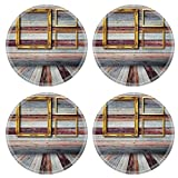 MSD Round Coasters Non-Slip Natural Rubber Desk Coasters design 21985574 Picture on wall in vintage wood room