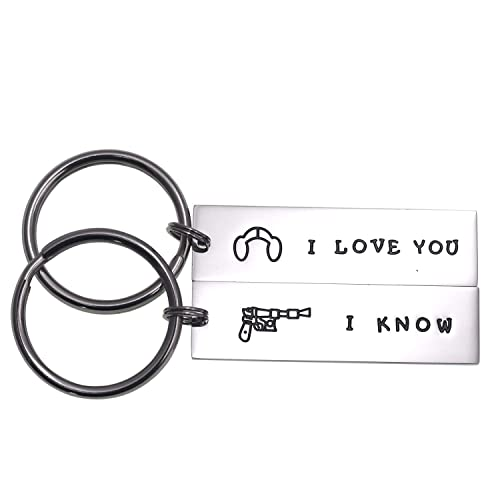 LParkin - Llavero para Parejas con Texto en inglés I Love You I Know Keychain Girlfriend Boyfriend Husband Wife