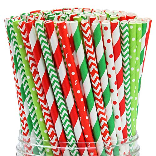 Coobey 200 Pieces Christmas Paper Straws Biodegradable Drinking Stripe Bicolor Stripe Dot Chevron Straw Mix for Wedding Supplies and Party Favors, 8 Style (Red and Green) ()