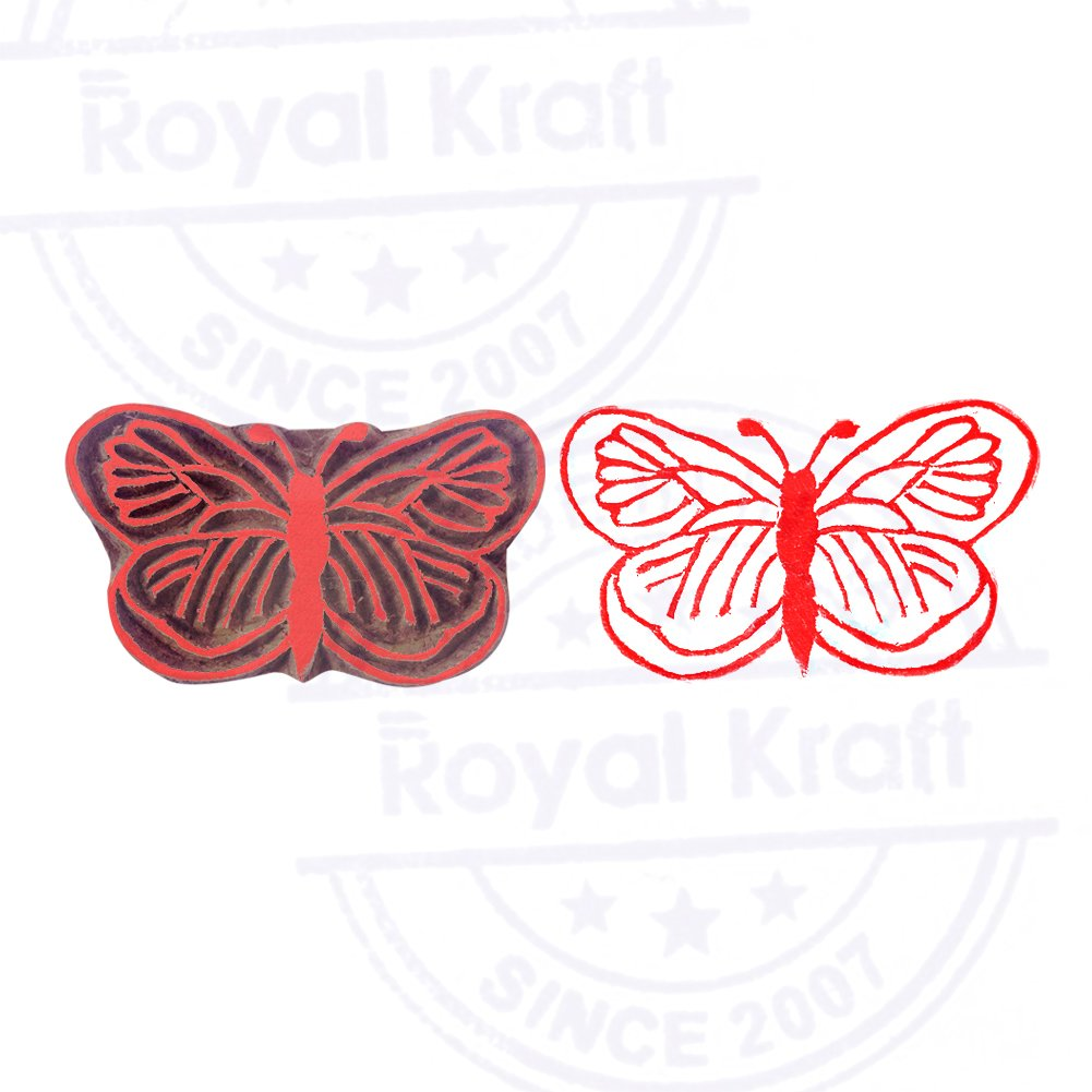 Crafty Butterfly Insect Pattern Wooden Printing Block DIY Henna Fabric Textile Paper Clay Pottery Block Printing Stamp