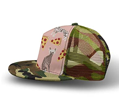 dc09ac34d69 YongColer Breathable Adjustable Snapback Camouflage Chinese Crested Dog  Pizza Hats Men Women Kids Cool Hip-