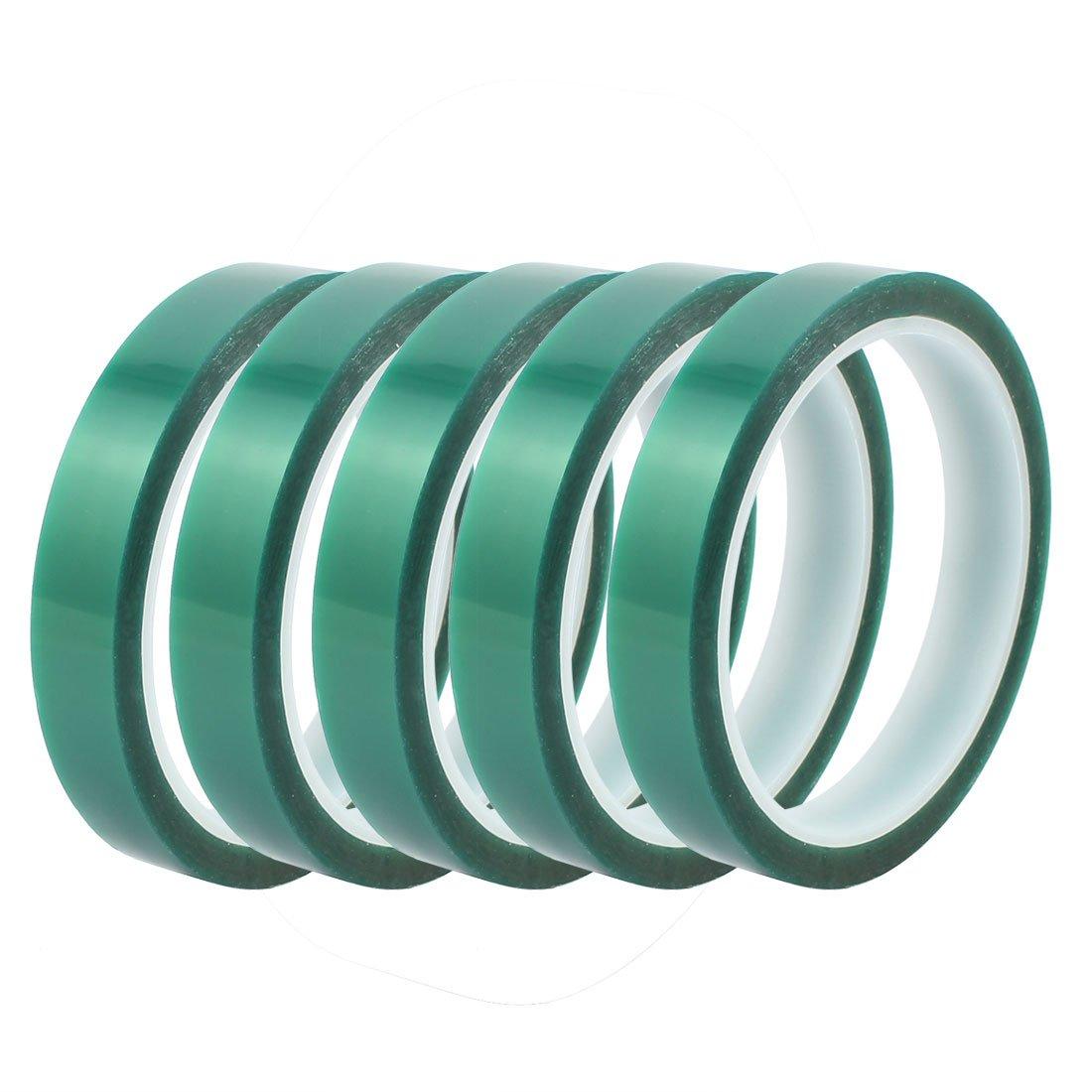 Aexit 5 Pcs 15mm Width 33M Length Green PET Self Adhesive Tape High Temp Heat Resistant