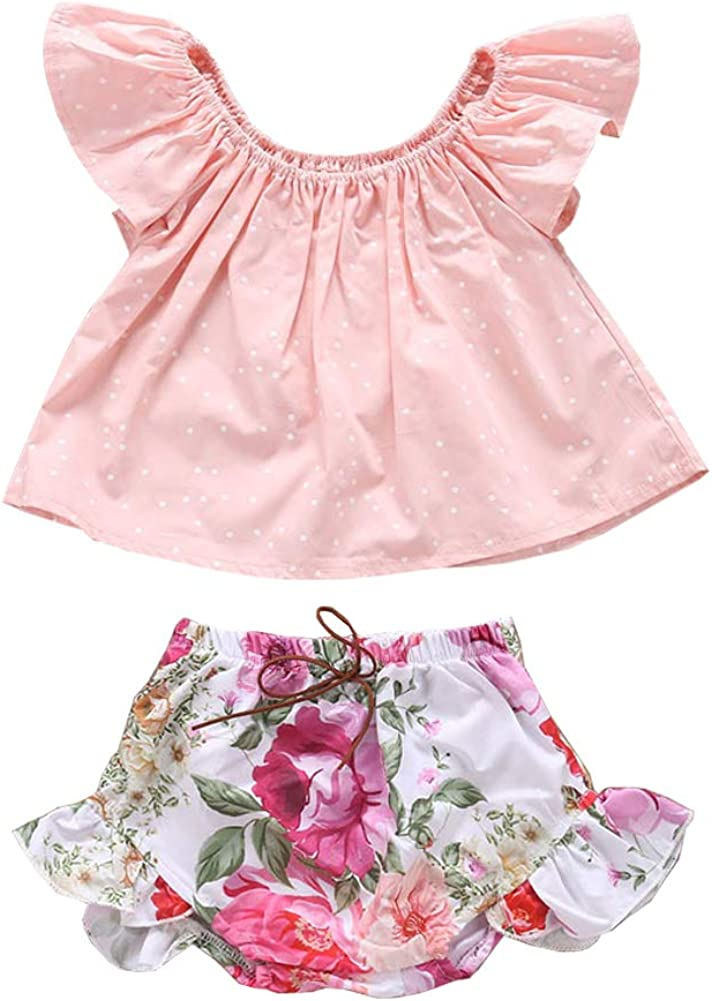 OUTGLE Newborn Baby Girl Off Shoulder Ruffle Top Ruffle Shorts Summer Outfits Set