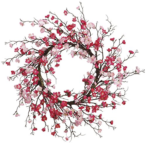 24 Inch Cherry Blossom Wreath, Fushia and Pink Blooms, Spring Wreath