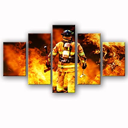 amazon com viivei firefighters wall art canvas prints art home