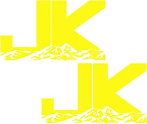 BYel 6.3in. JK Mountains 2-pack Decal Vinyl Sticker Graphics for Jeep Wrangler 4x4 Unlimited Sahara Rubicon Moab Overland Arctic SUV Walls Windows Laptop|BRIGHT YELLOW|6.3 X 3.7 Inch|URI687-BY