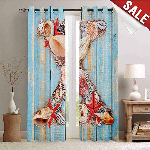 - Letter X, Drapes for Living Room, Summertime Fun with Underwater Wildlife Elements Aged Blue Planks, Window Curtain Fabric, W72 x L84 Inch Pale Blue Ivory Dark Coral