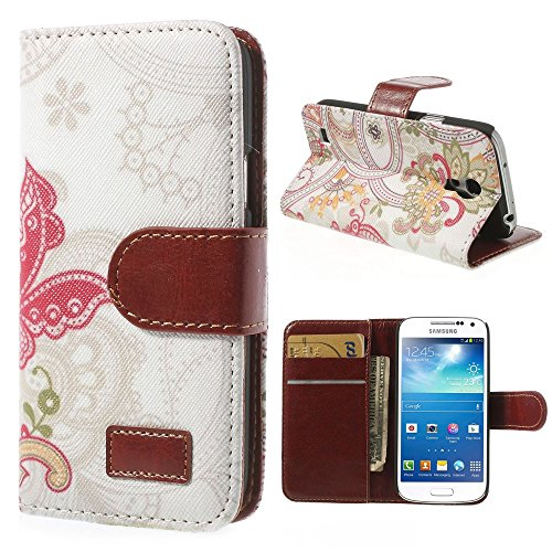 JUJEO Magnetic Leather Flip Cover with Card Slots and Stand for Samsung Galaxy S4 mini I9190 - Non-Retail Packaging - Red Butterfly and Flowers