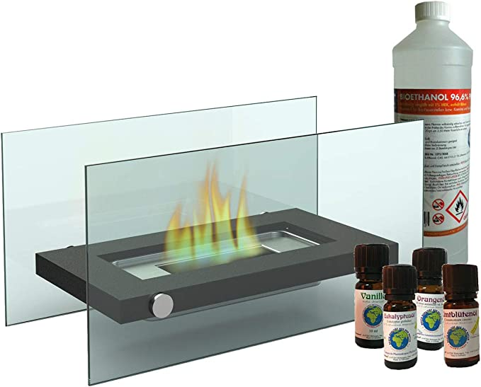 Chimenea de mesa decorativa/cristal Chimenea Bioetanol + 1L + 4 x ...