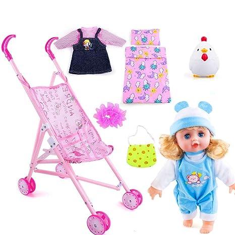 Carrito de muñecas para niños, Juego de viaje de muñecas, Carro de juguete Muñeca Bebé Juego ...