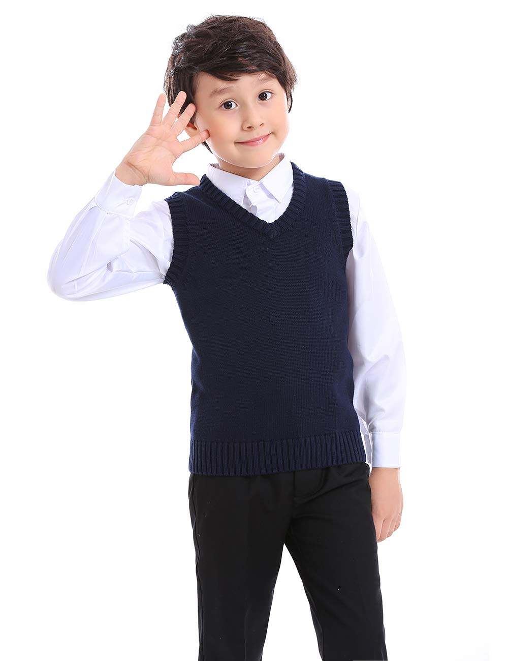 TopTie Boys V-Neck Cotton Knit Sleeveless Pullover School Uniform Sweater Vest (Navy/Black) SWEH-DK68304
