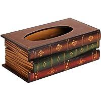 Natoo Elegant Hand Crafted Wooden Scholar's Antique Book Tissue Box Dispenser Novelty Napkin Holder (Antique Book Tissue Box)