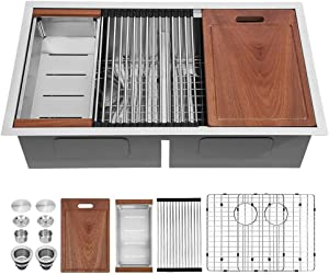 33 Kitchen Sink Undermount - Sarlai 33x19 Kitchen Sink Undermount Ledge Workstation Low Divide Double Bowl 50/50 16 Gauge Stainless Steel Sink Basin